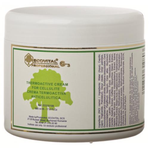 Crema Termoactiva Anticelulitica Cu Actiune Puternica - Thermoactive Cream For Cellulite - Ecovital - 500 Ml