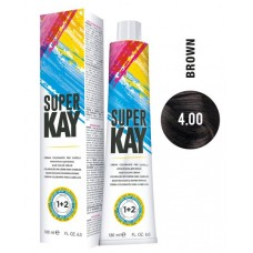 4.00 - Vopsea de par profesionala permanenta - Hair Color Cream - Super Kay - 180 ml