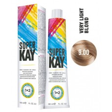 9.00 - Vopsea de par profesionala permanenta - Hair Color Cream - Super Kay - 180 ml