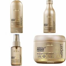 Kit mic pentru parul degradat si regenerare - sampon + balsam + masca + ser - Absolut Repair Lipidium - L'Oréal Professionnel - 4 produse cu 14.29% discount