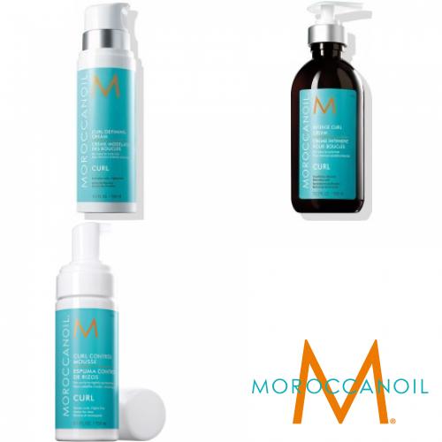 Kit Mic Pentru Parul Ondulat - Crema Definire + Crema Tratament + Spuma - Curl Line - Moroccanoil - 3 Produse Cu 15% Discount