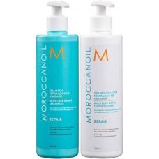 Kit pentru par degradat - sampon si balsam - Repair Shampoo And Conditioner - Moroccanoil - 2 x 500 ml