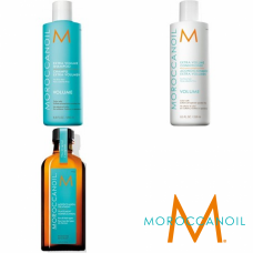 Kit sampon + balsam pentru volum + ulei tratament - Volume Line - Moroccanoil - 3 produse cu 15% discount